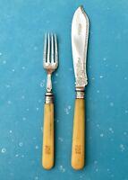 ANTIQUE FISH KNIFE & FORK JH ENGRAVED BLADE MONOGRAM HALLMARK SHEFFIELD TL 1897