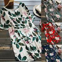 Womens Ladies Floral Print Mini Dress Summer Party Short Sleeve Dress Plus Size