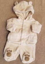 CLEARANCE! CHEROKEE NEWBORN 2PC WHITE FUZZY BEAR FOOTED OUTFIT W/HOODED JACKET