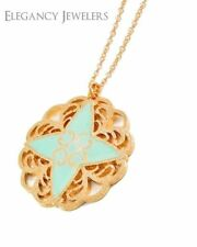 VFC Gold Tone Alloy Mint Epoxy Star Long Pendant Necklace
