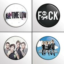 "4-Piece ALL TIME LOW 1"" Pinback Band Buttons / Pins / Badges"