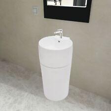 Keramik Waschbecken Säule Bad Standwaschbecken Stand Waschtischsäule weiß rund