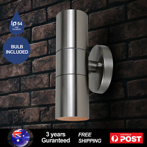 Cylinder Exterior Wall Light Up & Down Fixture Stainless Steel with Bulb