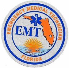 "FLORIDA EMERGENCY MEDICAL TECHNICIAN HIGHLY REFLECTIVE 4"" CIRCLE  EMT DECAL"