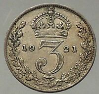 1921 UK Great Britain United Kingdom KING GEORGE V Silver Threepence Coin i57779
