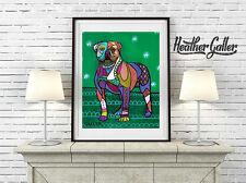 American Bulldog Folk Art Print Modern Poster GALLER Signed 11x14