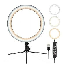 "10"" LED Beauty Ring Light w/Mount Stand for Phone Video Stream Broadcast Makeup"