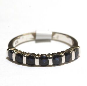 New 925 sterling silver natural round sapphire ring womens 2.3g size 7