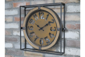 Large Industrial Square Wall Clock Metal and Rope