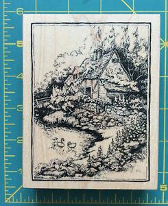 PSX rubber stamp K-2251 English Dutch country cottage pond garden 1997 design