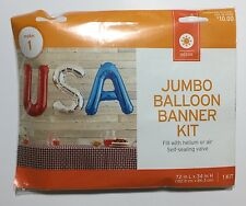 "USA Letter Jumbo Balloon Banner Kit 4th of July Party Red White Blue 72"" x 34"""