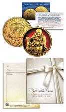 LAUGHING BUDDHA Budai JFK Half Dollar 24K Gold Plated LUCKY COIN Happy Hotei