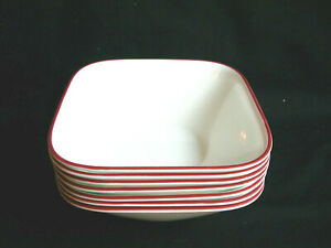 Set Of 6 + 1 Extra Corelle SPLENDOR Square Soup Cereal Bowls Red Rim Vitrelle