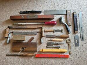 Vintage Woodworking Tool Lot Stanley Bevel Level Square Drawknife Chisels Plane