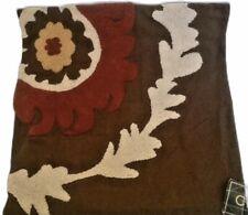 C & F Enterprises Cotton Linen Pillow Cover Floral Leaf Brown Orange 18 X 18