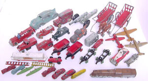 ANTIQUE TOOTSIETOY MANOIL BARCLAY HUBLEY CAST METAL TRUCK CAR TRAIN AIRPLANE LOT