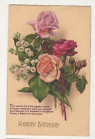 Happy Birthday 1932 Greetings Postcard Roses US063