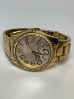 Betsey Johnson Ladies Quartz Watch Gold Tone Stainless Steel - Working