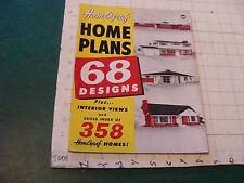 original MID-CENTURY MODERN: HomOgraf HOME PLANES 68 designs 1954, 48pgs TORN