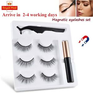 UK Liquid Eyeliner False Eyelashes Magnetic &No magnet 3 Pairs Lashes Tweezers