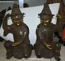 """25"""" Marked Old Chinese Purple Bronze 24k Gold Ancient Man Xiongnu person Pair"""