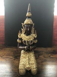 Vintage 9'' Heavy Metal Teppanom Buddha Guardian Angel Thai Statue Collectible