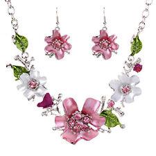 Womens Flower Leaf Pendant Jewelry Set Chain Necklace Hook Earrings Popular Hot