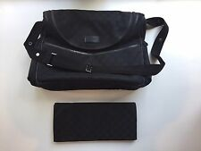 Authentic Black Gucci Diaper Bag with Changing Pad GG fabric Adjustable Strap