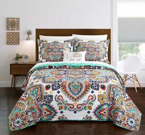 8 Piece Reversible Bohemian Aqua Paisley Quilt Set Bedding Microfiber Linens
