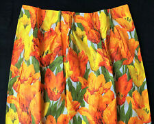 Vintage Pinch Pleat Curtains Drapes x2 Orange Yellow Green Lilies Lily Flowers