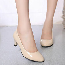 New Ladies Low Mid Kitten Heel Pointed Toe Court Work Office Womens Pumps Shoes