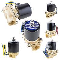 """AC 110V/220V DC 12V/24V 1/4"""" 1/2"""" Brass 2 Way Electric Solenoid Valve Water Air"""