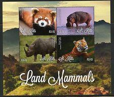 St. Kitts 2016 Land Mammals Red Panda Tiger Hippo & Rhinoceros Sheet Mint Nh
