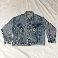 Levis Red Tag Denim Jean Jacket Acid Wash Blue Large 80s Vintage Stone Wash