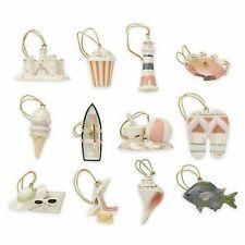 Lenox Summer Miniature Tree Ornaments Set of 12 Sand Castle Beach Boat Fish New