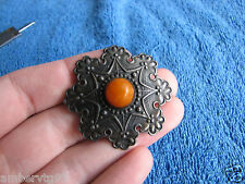 Natural Baltic amber 7 gr pin brooch orange silver 875 琥珀 USSR Russia antique