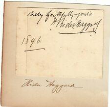 W212-HAGGARD, HENRY RIDER, AUTOGRAFO CON UNA RIGA DI SCRITTURA, 1896