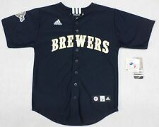 MLB Milwaukee Brewers Boys Youth Adidas Navy Jersey Size 8