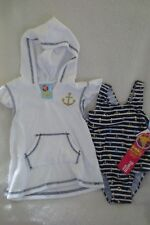 Girls Baby Buns Swimwear Terry Cover up Set Size 24 Months New Blue White