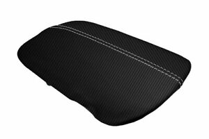 Ford Mustang Console Armrest Lid Cover Carbon Fiber for 2015-2020 White Stitch