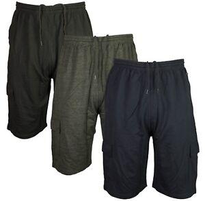 Mens Kam King Size Cargo Combats Summer Shorts Elasticated Waist 3 Colours