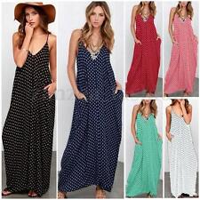 AU8-26 Women Polka Dot Bohemian Boho Summer Beach Party Long Sundress Maxi Dress