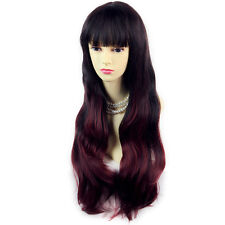 Lovely Style Black Brown & Burgundy Long Wavy Lady Wigs Dip-Dye Ombre Hair