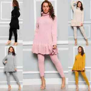 Ladies Knitted Frill Polo High Neck Women's Tracksuit Loungewear Winter Suit Set