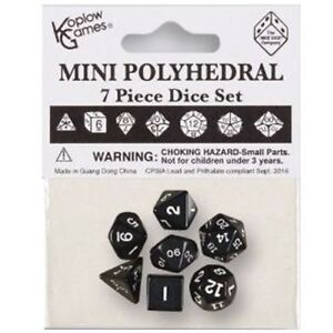 MINI POLYHEDRAL DICE: OPAQUE - BLACK WITH WHITE NUMBERS (7CT)