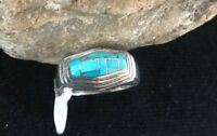 Native American Navajo Sterling Silver Turquoise Inlay Ring Size   1301