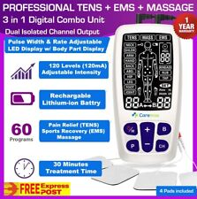 TENS Machine EMS 3 in 1 Combo Unit Pain Relief Massager LED Screen Dual Channel