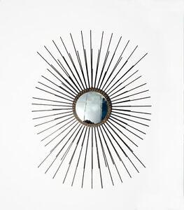 Stunning Large Mid Century Modern Inspired Sunburst Starburst Wall Mirror Brass