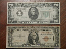 1934 $20 FRN  +  1935  $1  HAWAII  Silver Certificate