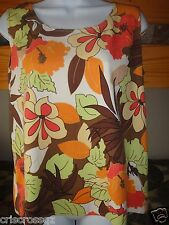NEW Natural Elements * 100% SILK Tank Top *BROWN Ivory ORANGE Fall Leaves * S M